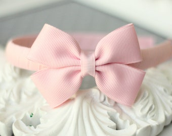 Pinwheel Bow Headband - LIGHT PINK - 70 Colors Available (Fits Toddler through Adult)