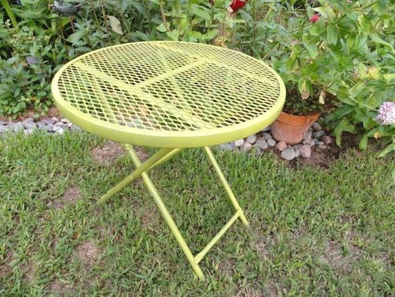 Vintage Table Folding Metal Green Garden Beach Patio Folding Indoor Outdoor