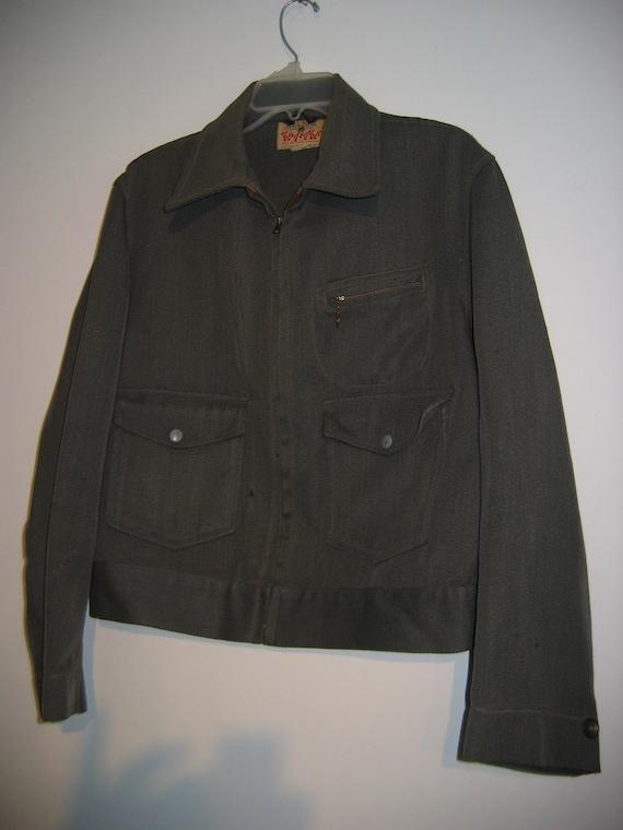 Men's 50's Eisenhower Jacket.  Vintage Wool Uniform. Indie, Mad Men.  Kodiaks, Black Bear label.