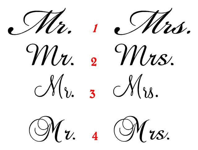 Custom Listing For Countryview1 Mr & Mrs Vinyl Stickers