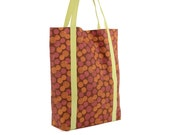 Orange Pink Brown Polka Cotton Tote with Pale Green Lining
