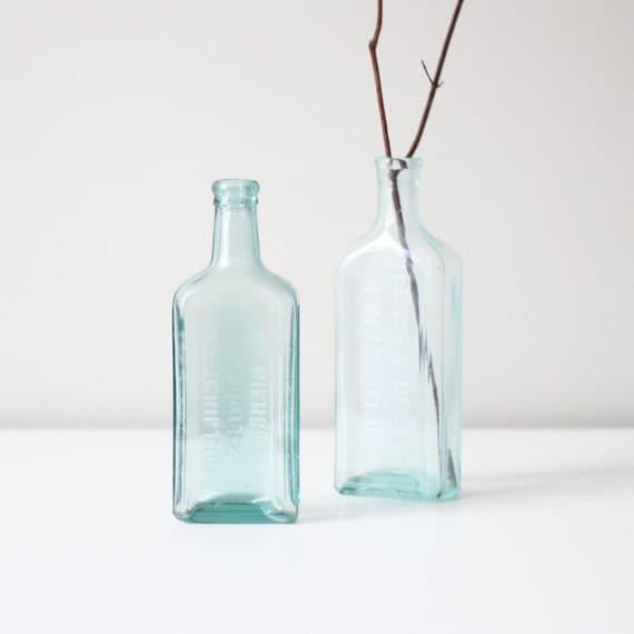 vintage apothecary bottle set / aqua glass bottles no.1