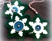 10 X green felt SNOWFLAKE STARS  christmas tree ornaments toys