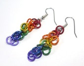 Gay Pride earrings, Rainbow earrings, Small, Chainmaille, Shaggy loops weave