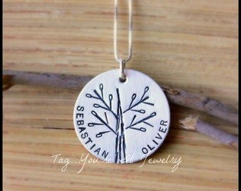 Family Tree Name Necklace, sterling silver hand stamped, personalized by tagyoureitjewelry on etsy