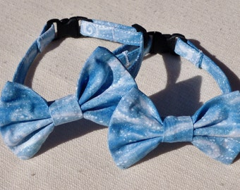 Snow Flurry Blue and White Bow Tie Collar for Cats