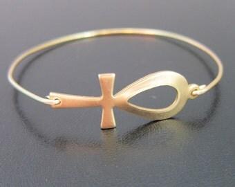 Gold Ankh Bracelet, Ankh Bangle Bracelet, Ankh Jewelry, Egyptian Ankh, Egyptian Bracelet, Egyptian Jewelry, Egyptian Hieroglyphic Jewelry