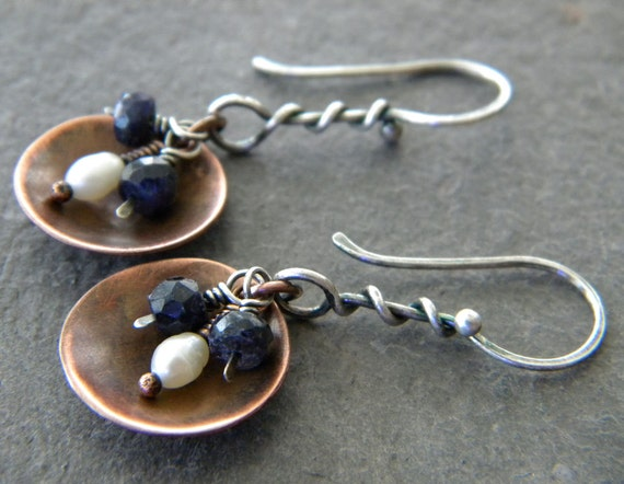 Sapphire White Freshwater Pearl Copper Sterling Silver Earrings Handmade Artisan Jewelry
