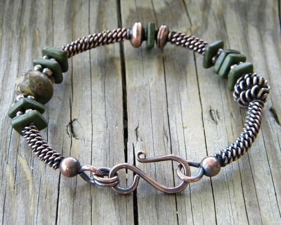 Rustic Olive Green Ceramic Copper Bangle Bracelet Marbled Jasper Artisan Jewelry