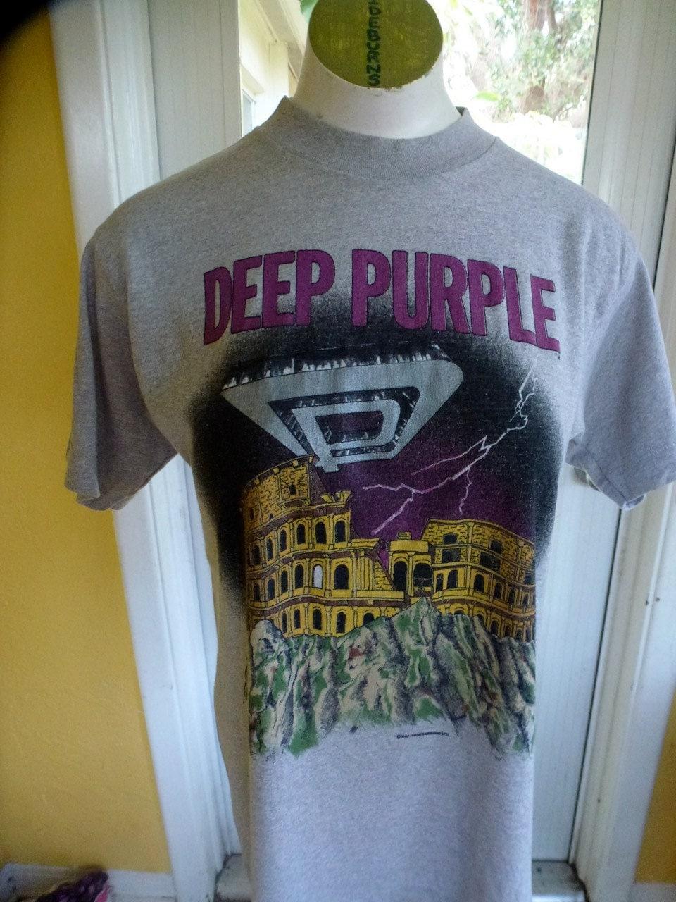 Vintage Deep Purple Concert Tour 1986 Gray T Shirt Size