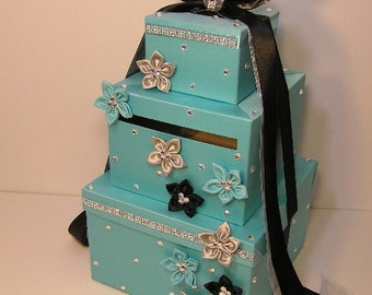 Wedding Card Box Blue , Black and Silver Gift Card Box Money Card Box Holder-Customize Your Color