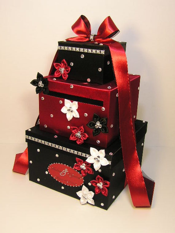 Black And White Wedding Gift Card Box : Wedding Card Box Black and Red/Scarlet Gift Card Box Money Box Holder ...