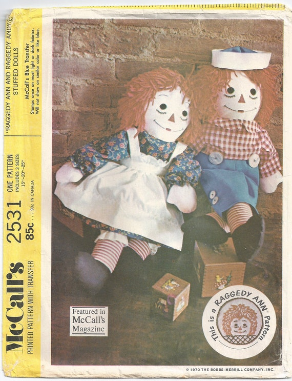 Raggedy Ann and Andy Doll Pattern - 3 sizes included