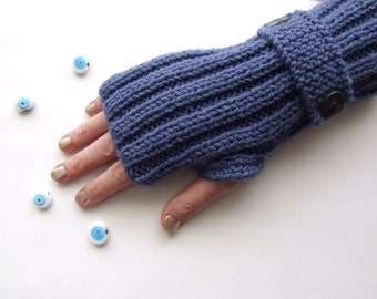Blue Warm Fingerless Gloves - Wrist Warmers-Ready For Shipping