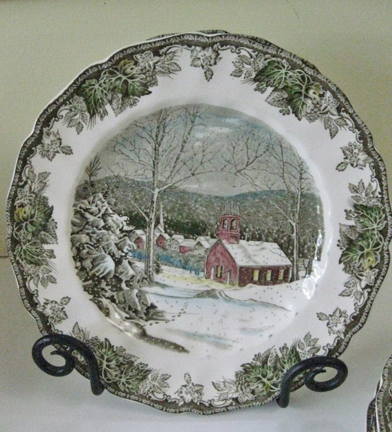 Vintage Johnson Brothers Dinner Plates set of 2 The Friendly Village The School House Pattern English Transferware Dinnerware