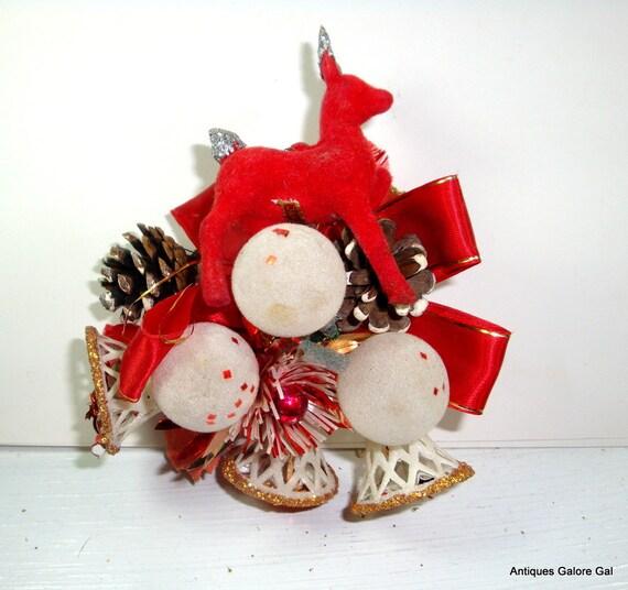 Vintage Christmas Corsage Brooch, Red Flocked Reindeer, Bells, Red and White (595-12)
