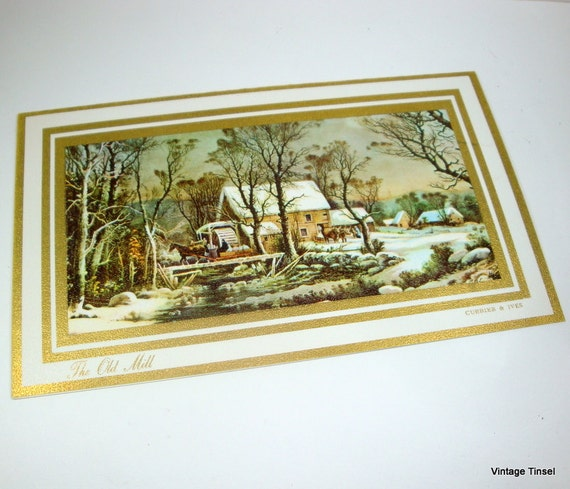 The Old Mill, Currier & Ives Vintage Christmas Card  (3021)