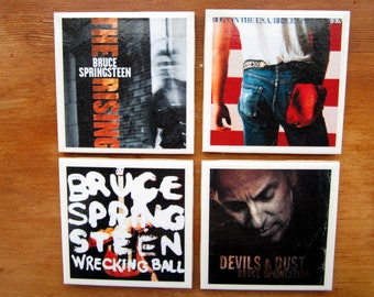 Bruce Springsteen Rock and Roll Record Cover Art Tile Drink Coasters 4 Piece Set