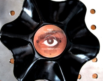 "Prince Genuine 33rpm Upcycled LP Record Bowl featuring  ""1999"" Featuring Beautiful Eye Ball Label Graphic"