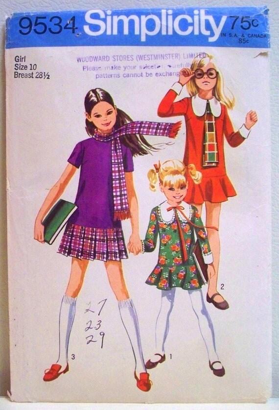 simplicity pattern 9534 - girls drop waist dress - (1971) - UNCUT