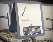Washington DC Table Number Wedding Decor City Landmarks Reception Signage Card