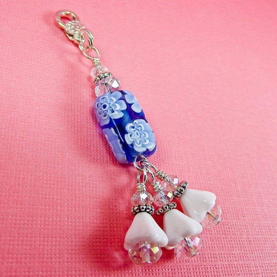 DREAM CLOUDS...Handmade Beaded Zipper Pull Charm -With Millefiori Lampwork, Czech Glass Flowers and Crystals