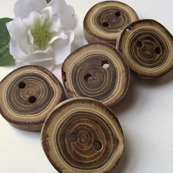 Wood Buttons - 5 Wooden Locust Tree Branch Buttons - 1 1/4 inches, 2 holes, For Journals, Pillows, Purses, Knitting and Crochet