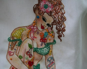 NEW Tattooed Ladies Iron on Hand Embroidery Pattern (original design)