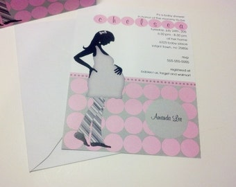 20 Modern Mom Invitations in Grey and Pink