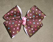 Brown Polka Dot Boutique Style Bow