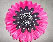 Pink Black and Zebra-inspired Flower Clip