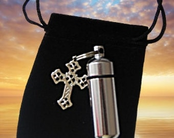 Lovely Silver CREMATION URN / Vial with Silver Filigree Cross - Keychain Keepsake -  Includes Velvet Pouch & Fill Kit