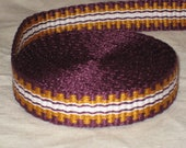 Purple, gold, and white hand-woven inkle trim (over 14 feet)