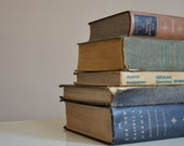 Set of Five Vintage German Books.  Shabby Chic Decor.  Shelf Filler. Neutral Shades.