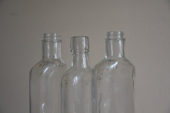 RESERVED.  Instant Collection.  Set of 3 Clear Glass Liquor Bottles. Repurpose as Vases or Holders.