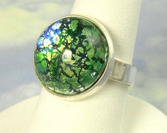 Adjustable Cocktail Ring Green Opal Glass Ring with Silver band Cocktail Ring