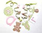 Pink and green baby shower decorations it's a girl banner by ParkersPrints on Etsy