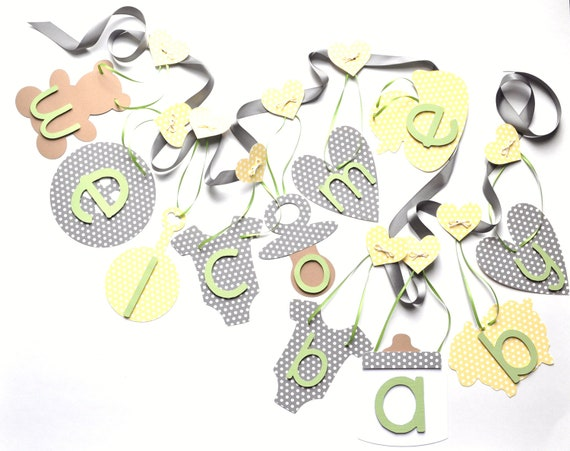 Neutral baby shower decorations Welcome Baby banner in grey yellow green by ParkersPrints on Etsy