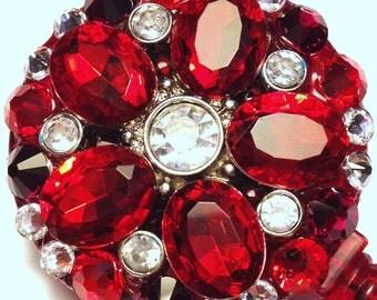 Ruby Red Rhinestone Flower  & Swarovski Crystal Embellished ID Badge Reel