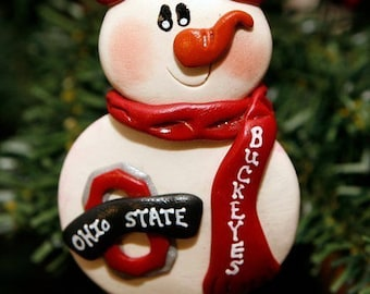 Personalized Ohio State Buckeyes Snowman Ornament Polymer Clay