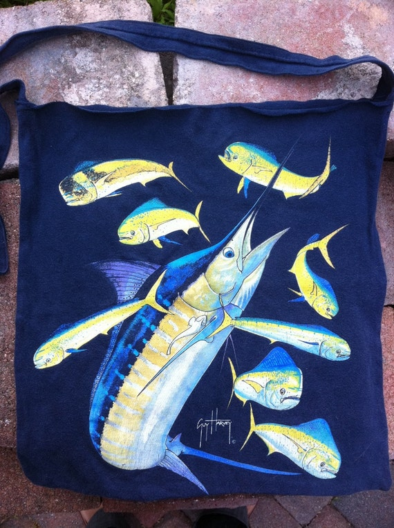 Guy Harvey fish fishing t-shirt purse.  Tote bag handmade from upcycled t-shirt.  Navy blue and yellow.