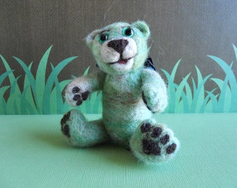 Teddy Bear Needle Felted Wool Miniature Teddy Bear - Buttons and Bows Series