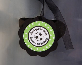 Soccer Theme Favor Tags - Soccer Birthday Party Decorations  in Green & Black