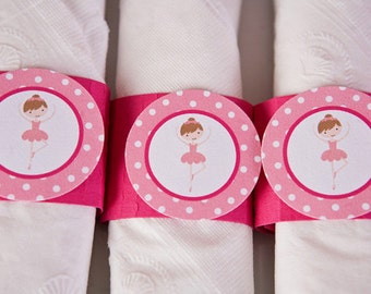 Ballerina Party - Napkin Rings - Silverware Wraps - Ballerina Party Decorations and Baby Shower Decorations in Hot & Light Pink (12)