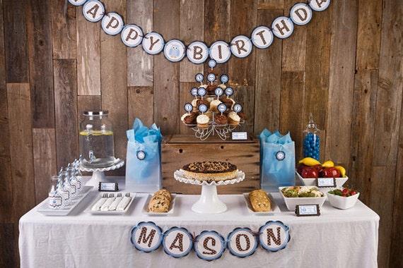 handmade spark owl happy birthday banner blue owl