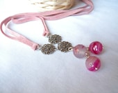 Pink fuchsia agate necklace - filigree lace flower - suede