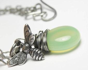 Honey Bee Necklace, Bee, Bee Charm, Bee Necklace, Bee Charm Necklace, Silver Bee Jewelry, Charm Necklace, Insect Necklace, Pendant Necklace
