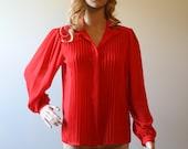Vintage 1980s Burn Red blouse