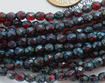 Ruby Picasso, Czech Beads Fire Polished 4mm 50 Faceted Round GLass