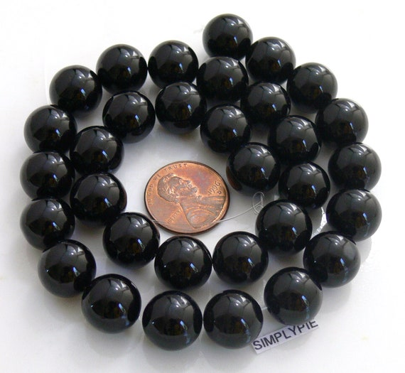 12mm Round Black Agate Gemstone beads 15-inch Strand - Pls use sale coupon SIMPLY12